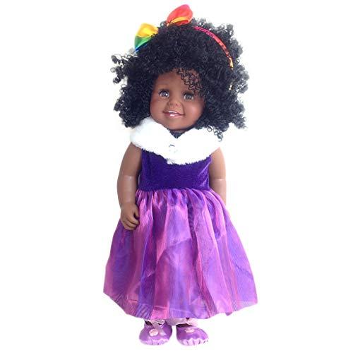 VNEIRW 18 inch Lebensecht Schwarze Puppen Waschbar Reborn Babypuppe Realistische Baby Puppe mit Schwarzes lockiges Haar, Haarband und Kleid (Lila) (Lebensechte Baby-puppen Bewegen)
