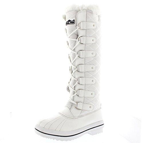 Polar Damen Quilted Knie Hoch Ente Pelz Gefüttert Regen Schnüren Dreck Schnee Winter Stiefel - Weiß Wildleder - WHS40 AYC0045 (Hoch Knie)