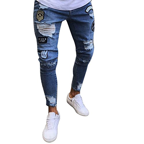 ITISME Jeanshosen Mens Stretch Denim Pants Distressed Ripped Freyed Slim Fit Zipper Jeans (Large, Hellblau2)