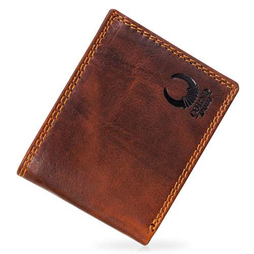 Herren Geldbörse Leder mit TÜV-geprüftem RFID Blocker I Portemonnaie Brieftasche Portmonee Vintage Geldbeutel mit Münzfach Wallet in Geschenk-Box Echt-Leder Kartenetui braun von Corno d´Oro 32010W
