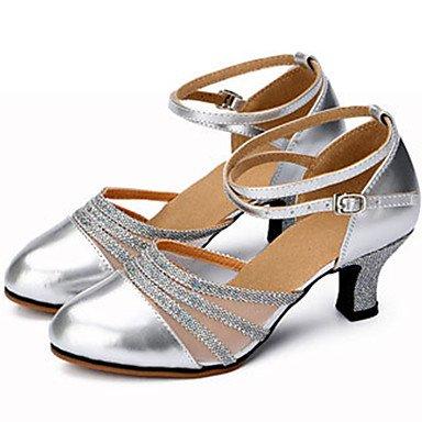 Silence @ Chaussures de danse pour femme Cuir Cuir Paillettes scintillantes Paillettes scintillantes Latin Jazz talons Heelpractice débutant gris