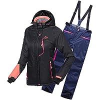emansmoer Damen Skianzug Wasserdicht Outdoor Wintersport Schneejacke Frauen Kapuze Baumwolle gepolstert Mantel mit Skihose Salopettes