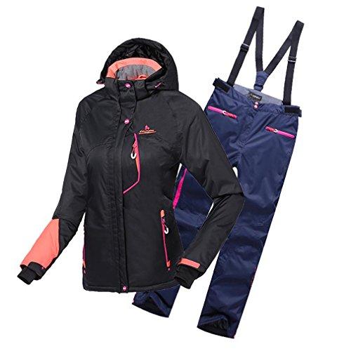 emansmoer Damen Skianzug Wasserdicht Outdoor Wintersport Schneejacke Frauen Kapuze Baumwolle gepolstert Mantel mit Skihose Salopettes (Small, Schwarz(8037) + Blau)