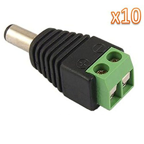 10 Pcs 2.1x5.5mm Male Jack DC Power Adapter for CCTV Camera