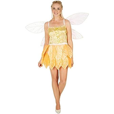 Costume de fée des feuilles Fleurs d'or pour femme | Feuilles cousues sur le bas de la robe | Effet enchanteur | Style corsage (XL)
