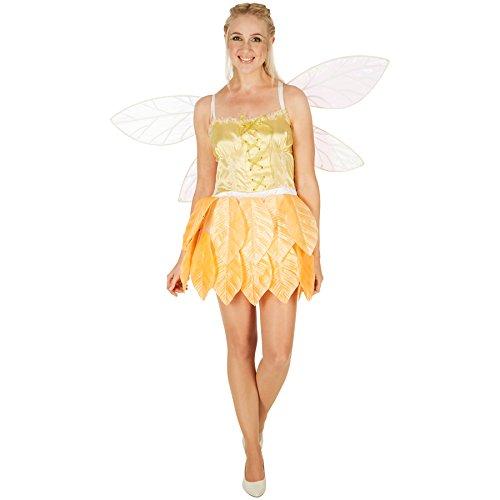 TecTake dressforfun Frauenkostüm Blätterfee Goldblüte | Angenähte Blätter am Unterteil | Korsagenlook | kurzes Kleid (S | Nr. 301155)