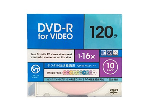 Speed-mix (VERTEX DR-120DVCMIX.10CA DVD, R for Terrestrial digital Broadcast Recording DR, 120 DV cm 104. 10 CA 120 min 4.7 GB 16 × Speed 10 Color Mix Disk)