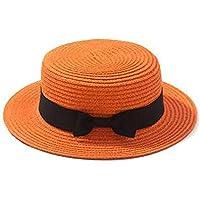 Erduo Diseño de Moda Niños Niñas Mujeres Adultas Verano Protector Solar Boater Hat Tejido clásico de Paja Señoras Gorro de Playa con Parte Superior Plana - Naranja