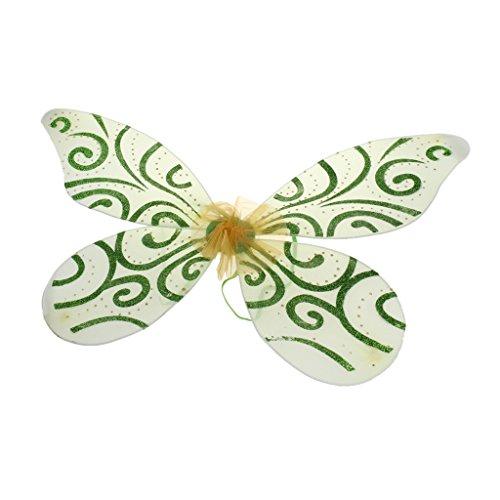 Schmetterlings Flügel Kostüm Grüne - MagiDeal Glitzer Schmetterling Flügel - Feen Kostüm Kinder - Grün