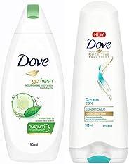 Dove Go Fresh Nourishing Body Wash, 190ml & Dove Dryness Care Conditioner, 180ml