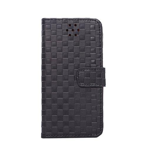 Étui iPhone 5, iPhone 5S, iPhone 5SE cas, cinq couleur Tension Petit carré Étui à rabat en cuir PU Porte-cartes Support Coque avec Film Protecteur d'écran pour iPhone 5/5S/5SE noir