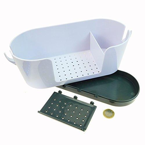 Ablage Ständer Halter für die Spüle   für nasse feuchte Schwämme, Spülbürste, Spülmittel   Organizer fürs Spülbecken   Ordnungshelfer Caddy   Schwammablage   hellgrau