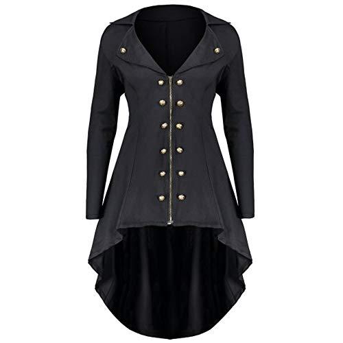 Shujin Damen Mantel Frack Jacke Gothic Gehrock Uniform Kostüm Party Outwear Karneval Zweireiher Mittellang mit Reverskragen Reißverschluss Mäntel Asymmetrisch - Frack Jacke Kostüm