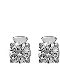 Shiyara Jewells 92.5 Sterling Silver Solitaire Bold Handsome Stud Earrings Made With Swarovski Zirconia ER07007
