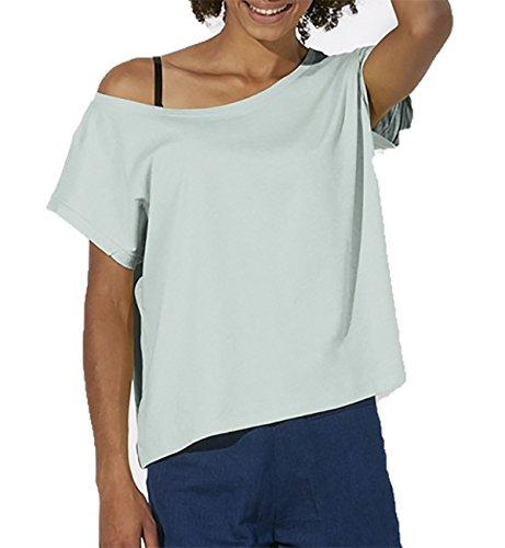 YTWOO Oversize Damen T-Shirt Aus 100% Bio-Baumwolle, Weit Geschnittenes Damen T-Shirt mit U-Ausschnitt, Oversize Damen Shirt (L, Sky Blue) (Damen-bio-baumwoll-jersey)