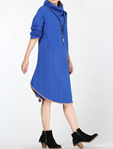 Vogstyle Femmes Gaufrage Sweatshirts Midi Mi-Longue Robe de Haut-cou Bleu