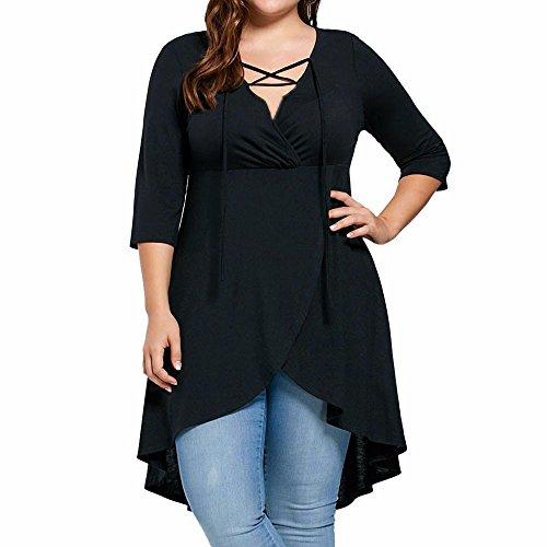 Schlafanzug Doll Passenden (VJGOAL Damen Bluse, Dame Plus Size Fashion Unregelmäßige Top Drei Viertel Sleeve Shirt Hohe Niedrige Hem Tops Bluse (XXXL, Schwarz))
