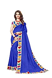Bhuwal Fashion Womans CHANDERI silk KALAMKARI saree with Blouse (BLUE)