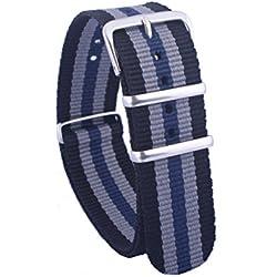 Gemony Natoo Strap Black/Grey/Blue Watch Band 20mm