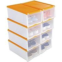 Scarpiera impilabile in plastica trasparente,set di 8, 33x 22 cm x 14 Arancione
