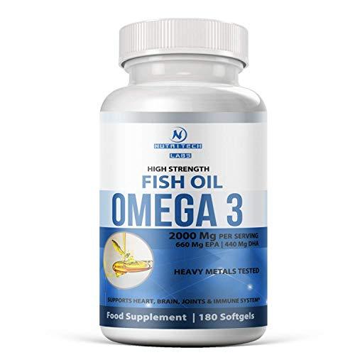 omega 3 fischöl kapseln hochdosiert - Höchste Konzentration - 2000 mg(pro Portion) - 1100mg dha epa - Unterstützt gesundes Herz, Gelenke, Gehirn & Immunsystem- 100% natürlich- Nicht GMO- 180 kapseln -