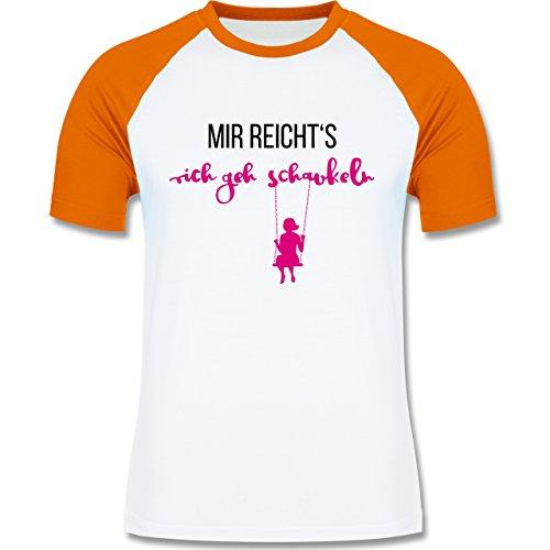 Shirtracer Sprüche - Mir Reichts Ich geh Schaukeln - Herren Baseball Shirt Weiß/Orange