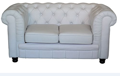 Chesterfield Sofa Oxford Chesterfield 2 Sitzer weiss