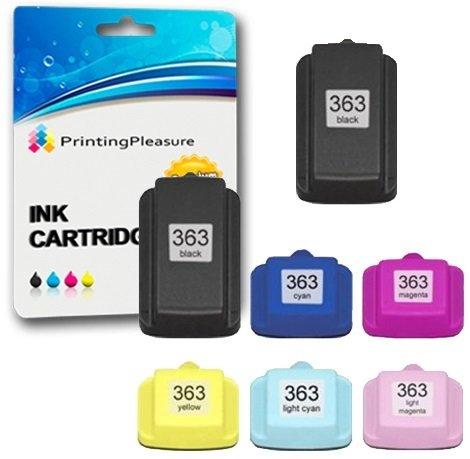 Printing Pleasure 7 XL Tintenpatronen kompatibel zu HP 363 für Photosmart 3110 3210 3210xi 3310 8250 C5180 C6150 C6180 C6280 C7180 C7200 C7250 C7280 C8180 D6160 D7160 D7260 D7460, hohe Kapazität