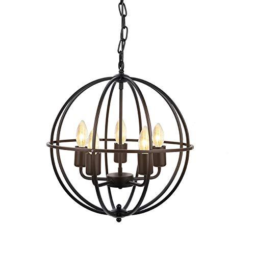 DECKEY Industriell Retro Pendelleuchte Hängelleuchte Hohlkronleuchter 5-Lampe Kugel Deckenpendelleuchten für Schlafzimmer Wohnzimmer Lesesaalbeleuchtung Vintage Café Bar,Schwarz Eisen Metall