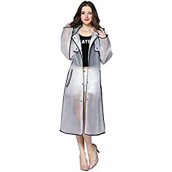 Hzjundasi Mujer Fashionable EVA Transparent Impermeable Largo Deportes Portable Ropa Impermeable Encapuchado Poncho Al Aire Libre Excursionismo Chubasquero (Color:Negro,tamaño:XL)