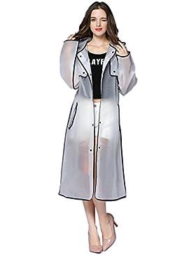 Hzjundasi Mujer Fashionable EVA Transparent Impermeable Largo Deportes Portable Ropa impermeable Encapuchado Poncho...