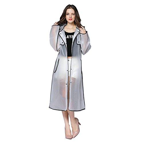isch Eva Transparent Wasserdicht Lange Sport Tragbar Regenbekleidung Mit Kapuze Poncho Im Freien Wandern Regenmantel (Farbe:Schwarz,Größe:M) ()