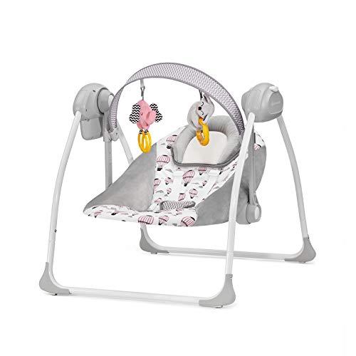 kinderkraft sdraietta flo, dondolo automatico, altalena, vibrazioni, 8 melodie, giocattoli, per bambini, 0-9 kg, rosa