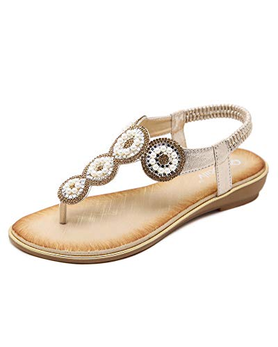 Sandali donna da estate pu cuoio bassi sandali elegante perla boemia perline decorate, t-strap scarpe da spiaggia da donna oro eu 36
