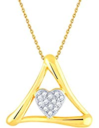 Silvernshine 1/10 Ct Diamond 14k Yellow Gold Fn .925 Heart In Triangle Pendant Chain Necklace