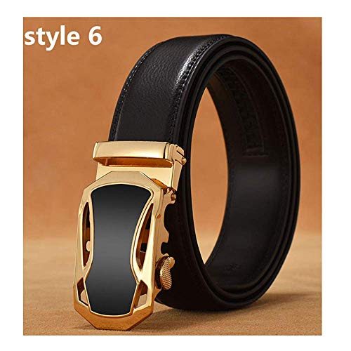 aoliaoyudonggha Mens Luxury Designer Male Genuine Leather Strap White Automatic Buckle Belt