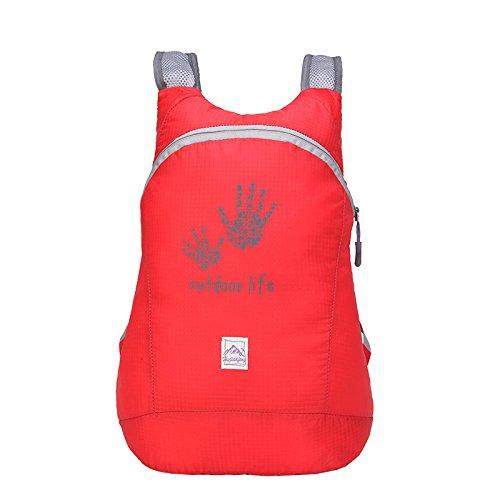 Pieghevole zaino in nylon, impermeabile per sport all' aperto, spazioso scuola escursionismo trekking campeggio viaggio borsa per bicicletta, Fluorescent Green red