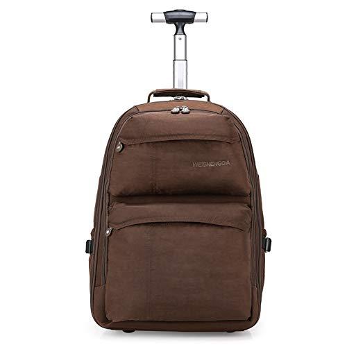 21-Zoll-Trolley-Rucksack Wasserdichter Rollrucksack auf Rädern für Männer und Frauen Business Laptop Travel Backpack Bag,Brown