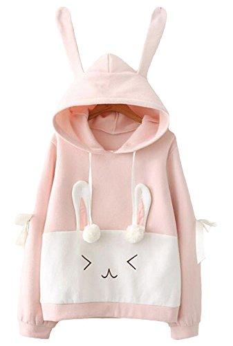 Lolita Reihen Frauen Kapuzenpulli Sweatshirt Kaninchenausdruck Hasenohren reizender rosafarbener Bogenhaarball Samtsamt Art Weise