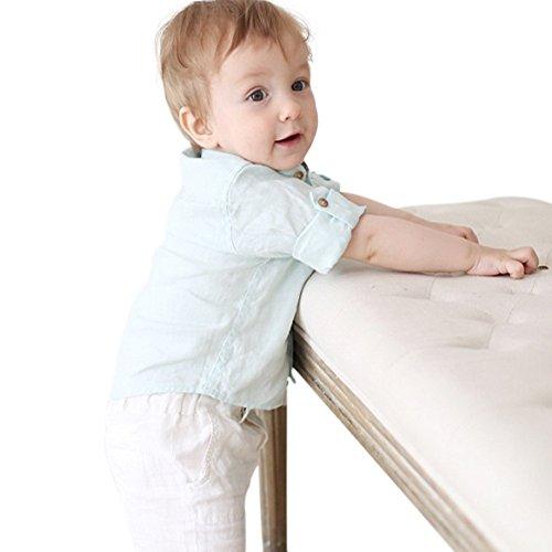 Marc janie Baby e bambini maniche lunghe Solid Color Lino Button Camicie Mint Green 100-110 cm