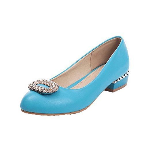 VogueZone009 Femme Rond à Talon Bas Matière Souple Mosaïque Tire Chaussures Légeres Bleu