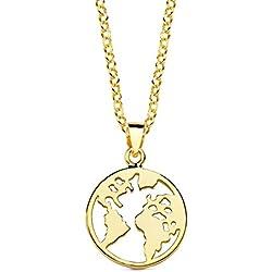 Collar mujer niña plata de ley 925 mundo 15 mm baño oro amarillo cadena rolo 45 cm