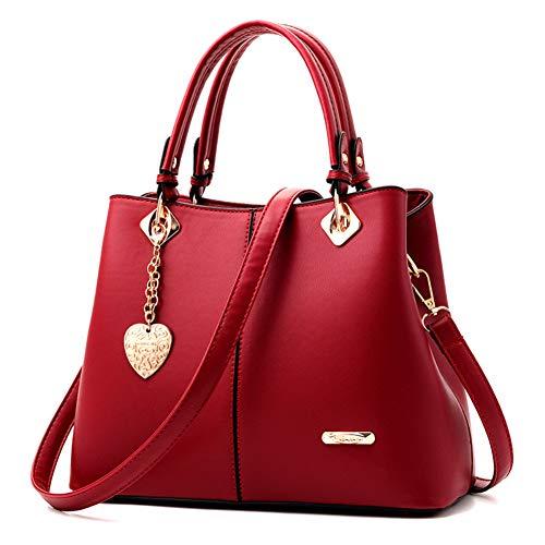 Handtasche Leder Modern Frauen Henkeltasche Große Umhängetasche mit Anhänger Multifunktionale Shopper für Freizeit, Arbeit und Reise Rot ()