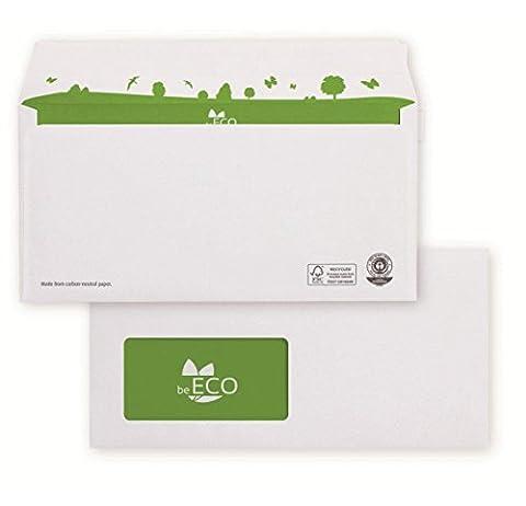 beEco 02720161 Briefumschlag DIN lang (110x220 mm), 80g weiß, Recycling, mit kompostierbarer Fensterfolie, haftklebend, 500 Stück