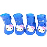 Pinkdose® 1, S: Waterproof Pet Dog Shoes 4Pcs/Set Cat Rain Shoes For Dog Puppy Rubber Boots Portable Durable Kitty Shoes Gift Pet Products