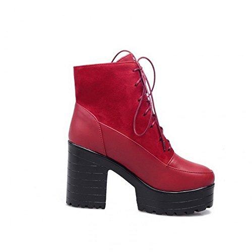 AllhqFashion Damen Schnüren Spitz Zehe Hoher Absatz Niedrig-Spitze Stiefel mit Knoten, Rot, 40