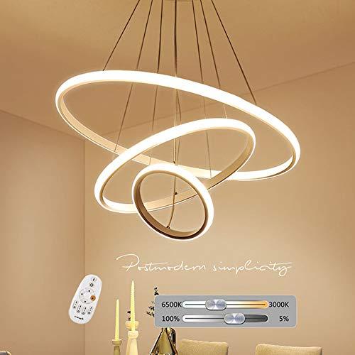 76W LED Lampade a sospensione vivente lampada della stanza oscuramento con telecomando anelli design rotondo esterno pendente luce bianca sala da pranzo cucine ufficio camera da letto della scale