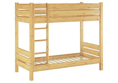 Erst-Holz® Etagenbett Massivholz Kiefer Natur 80x190 Stockbett Hochbett teilbar Rollrost 60.16-08-190 T100 (Massivholz Etagenbett)