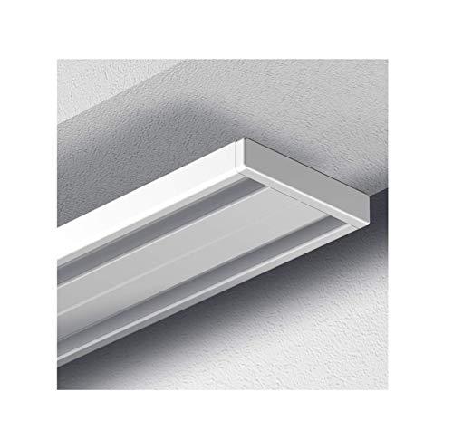 Garduna 300cm Gardinenschiene Vorhangschiene, Aluminium, Weiss, Glatte, glänzende Oberfläche, 2-läufig oder 1-läufig (Wendeschiene)