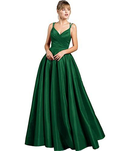 Cloverbridal Damen Sexy V-Ausschnitt Abendkleider Ballkleider Lang Spaghetti-Träger Partykleider Brautjungfer Kleider mit Taschener Smaragdgrün 40